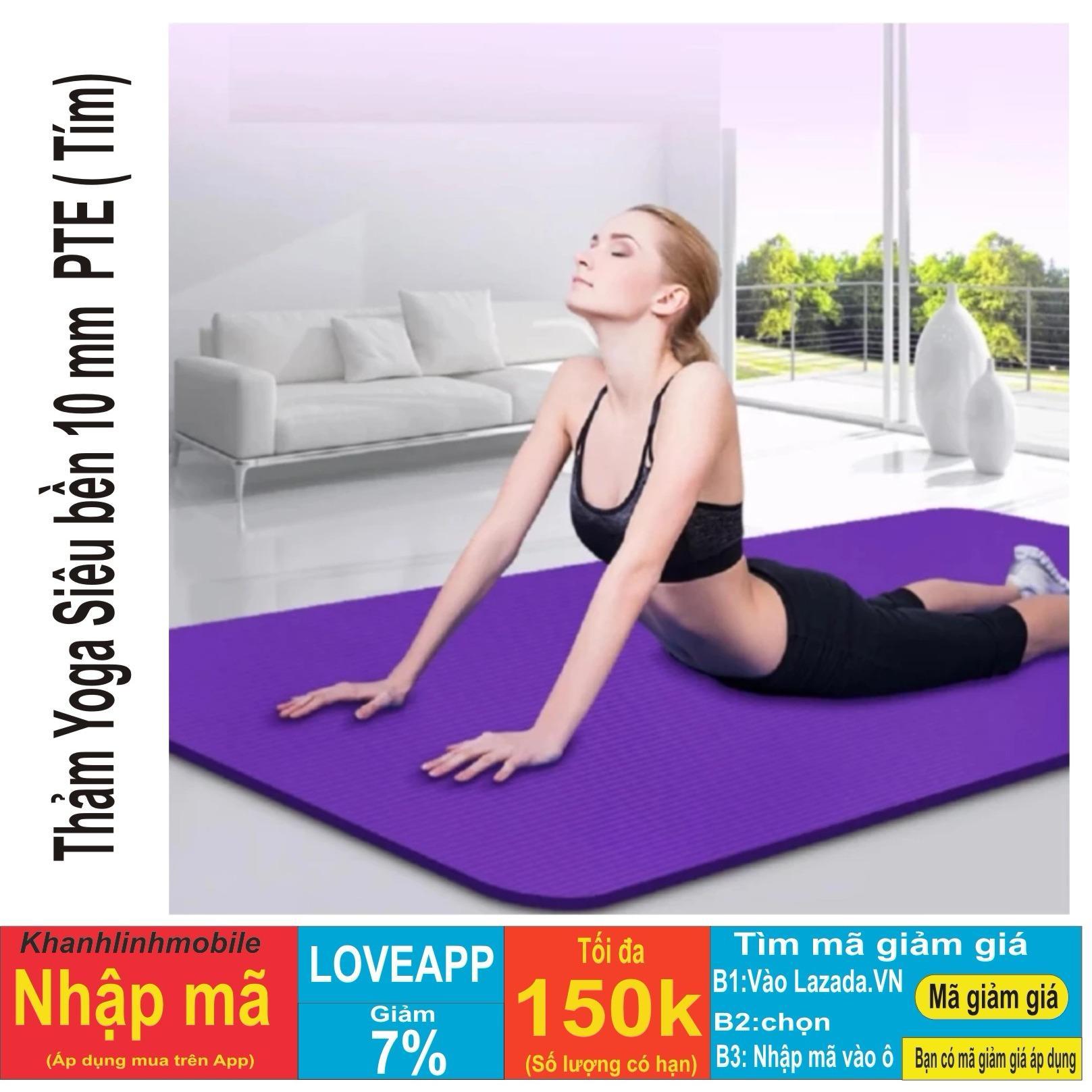 Thảm tập Yoga siêu bền loại dày 10mm TPE (Tím) dày dài kích thước 1m75 x 61cm x 10cm ( CÓ TÚI ĐỰNG )