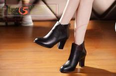 Giày boot bốt nữ đẹp cổ cao hàng hiệu Rosata-sang trọng RO137