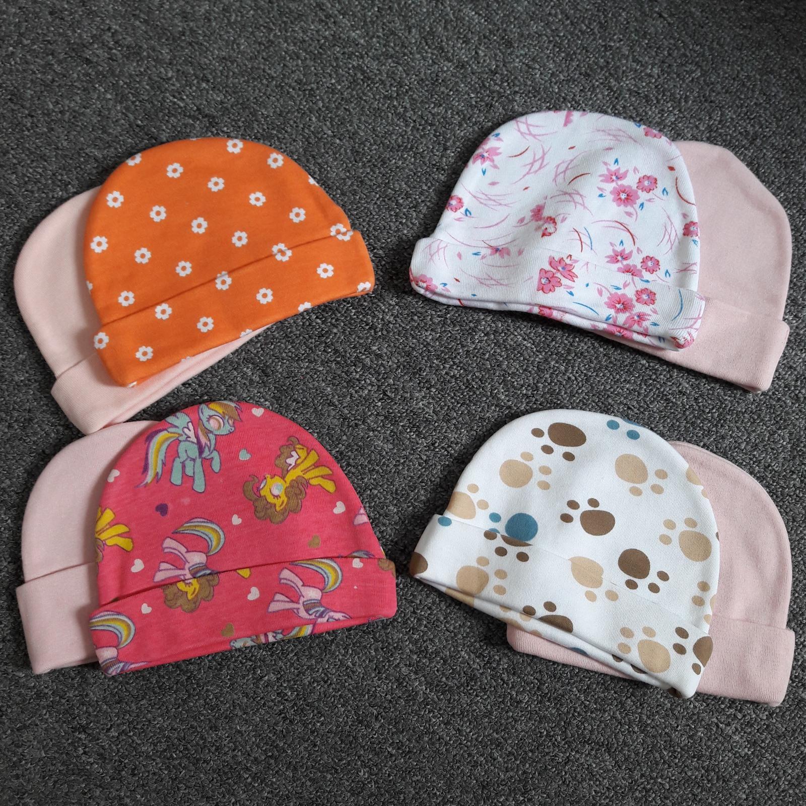 Bộ 2 nón cotton cao cấp Thái Lan dày cực mềm mịn (bé gái) – tặng bao tay