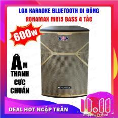 Loa kéo karaoke Ronamax MR15, Loa bluetooth thùng gỗ 4.5 tấc ( Tặng 2 chống lăn micro )