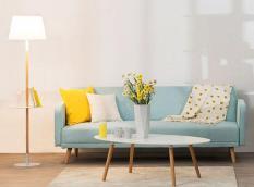 Bàn sofa hình elip sơn PU trắng chân gỗ