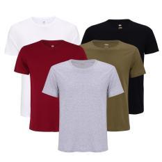 Combo 5 áo thun nam body cổ tròn vải dày mịn thoáng mát phong cách hàn quốc ( đen/ trắng/ xám/ đỏ đô/ xanh rêu )