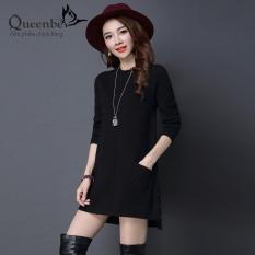 Áo len nữ dáng dài áo nữ dài tay túi thật Queenbe GLA248