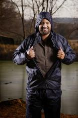 Bộ áo mưa VẢI DÙ áo, quần, mũ, túi đựng Nameka (Xanh đậm)