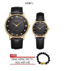 Cặp Đồng hồ nam dây da cao cấp-TẶNG 1 vòng tỳ hưu phong thủy may mắn (HL545 dây đen mặt đen)