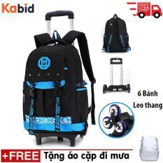 (FREE SHIP TOÀN QUỐC) BALO KÉO học sinh cấp 1,2 leo bậc thang Super Star (xanh dương ) Tặng bộ áo cặp