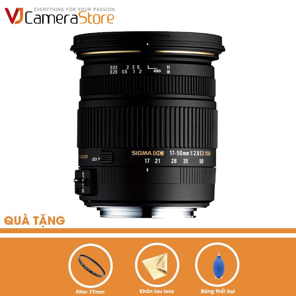 Ống kính SIGMA 17-50mm F2.8 EX DC OS HSM cho Nikon (Đen) – Hàng nhập khẩu + Tặng bóng thổi + khăn da cừu lau lens + filter Kenko 77