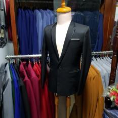 [Full Size] Áo Vest Nam Màu Đen Viền Đen Ôm Body
