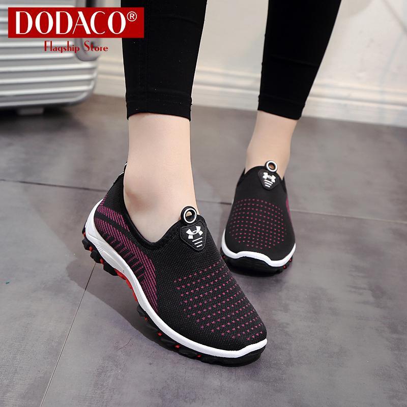 Giày lười nữ thời trang DODACO DDC2025 (Đen Đỏ Tím Xám)