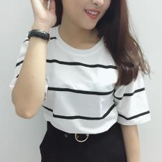 Áo thun nữ tay lỡ sọc trắng đen thời trang