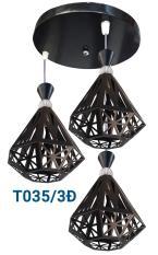 Bộ Đèn thả 3 kim cương khung sắt NB12