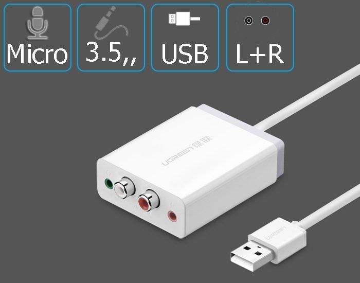 Giá Card Sound | USB Sound Ugreen 30521 | USB sang AV | 3.mm Tại AZBUY