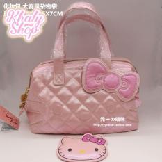 Túi xách tay da hình mèo Kitty màu hồng nhạt ánh – 136TG1347 (22.5x7x14.5cm)