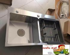 Chậu rửa bát Inox 304 Đúc Nguyên Khối 82 x 45cm (tặng Vòi rửa nóng lạnh+ kệ để đồ) 2 hố cân