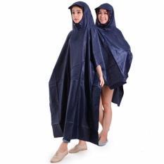 Áo Mưa Vải Dù 2 Đầu Xẻ Tà Chông Thấm 1m4 ( Xanh Đậm )