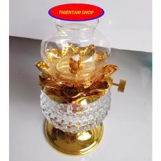 Đèn dầu cát tường thủy tinh sen vàng cao 15cm DS01