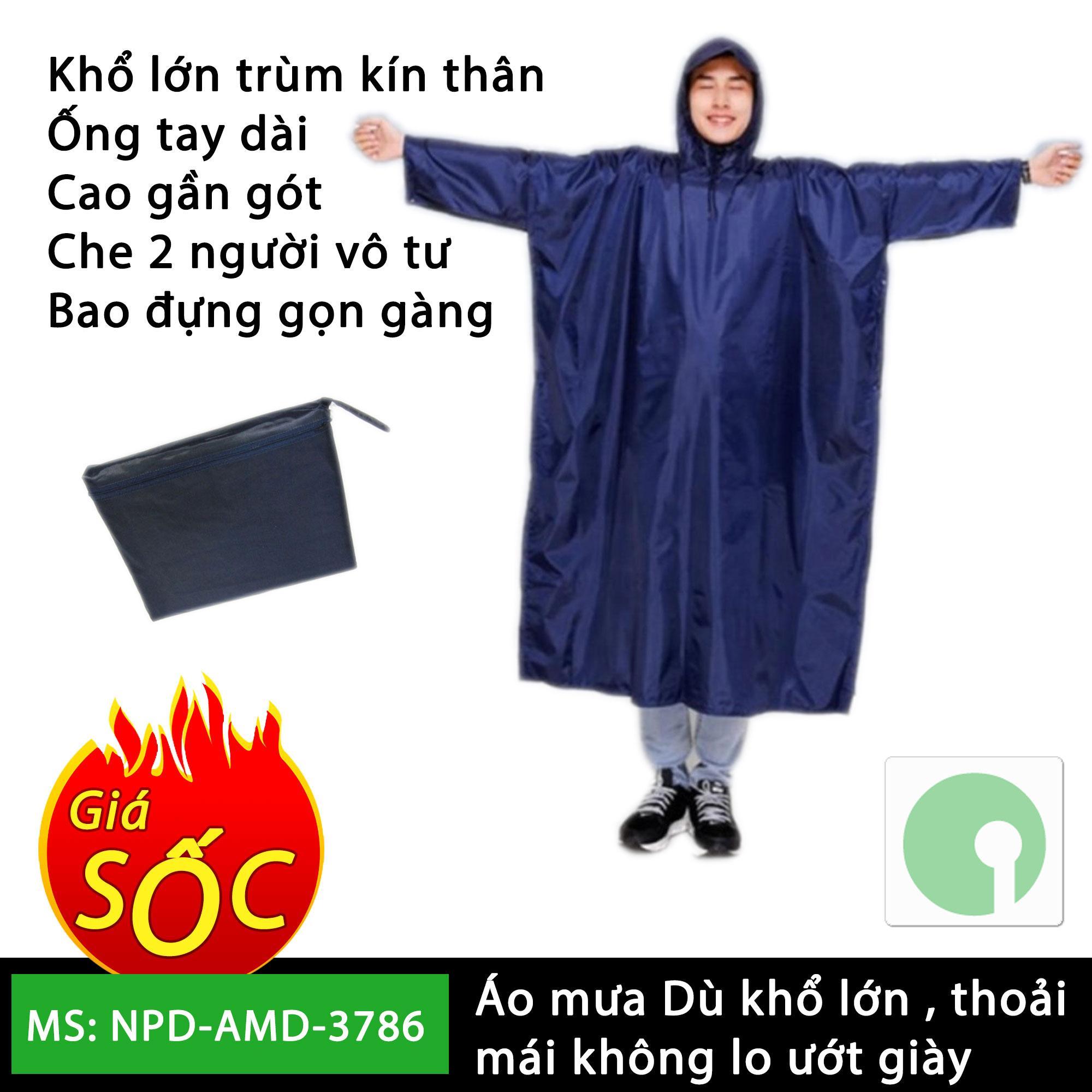 Áo mưa vải dù cao cấp loại lớn 1m4 - che kín 2 người mùa mưa - NPD-AMD-3786 (Nhiều màu)