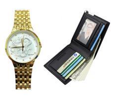Combo đồng hồ nam dây thép không gỉ baishun mạ vàng tặng kèm ví