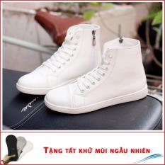 Giày thể thao nam cao cổ có khóa phong cách màu trắng T518 (T)