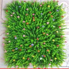 Thảm cỏ tai chuột có hoa loại đẹp kích thước 60x40cm-Thảm cỏ nhân tạo-Cây hoa giả