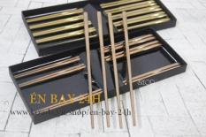 Bộ 5 đũa ăn Nhật Bản inox 304 mẫu trơn đặc ruột