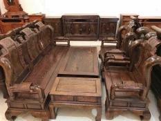 Bộ bàn ghế gỗ phòng khách tần thủy hoàng gỗ mun đuôi công