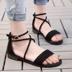 Giày sandal nhung ngang dây chéo cổ chân-đen