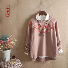 Áo len thêu hoa nữ cao cấp – Thời trang phong cách Nhật – Áo len thu đông – áo ấm len nữ trung niên