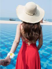 Nón rộng vành đi biển viền tua rua đính hạt NT hàng Quảng Châu cói mềm thuận tiện gấp gọn