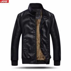 Áo khoác da lót lông cao cấp LADOS-01 (Đen)