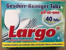 Viên Rửa Chén Bát Ly Largo 40 viên ( tích hợp muối ,bóng ,bột)