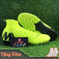Giày đá bóng giày đá banh sân cỏ nhân tạo MERCURI-X cổ thun cao màu xanh chuối dạ quang, siêu bền, đã khâu mũi chắc chắn (Tặng kèm vớ)