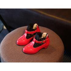 Giày boot da bóng phối ren SC033