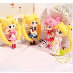 Bộ 4 mô hình thủy thủ mặt trăng Sailor Moon + Tặng kèm đế tròn