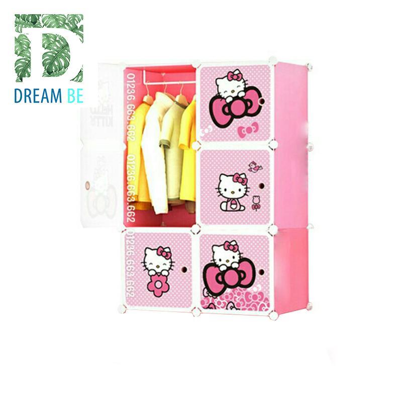 Tủ nhựa lắp ghép 6 ô hình kitty màu hồng