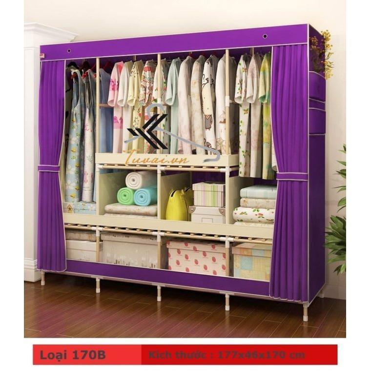 tủ vải khung gỗ 4 buồng 8 ngăn cao cấp màu tím