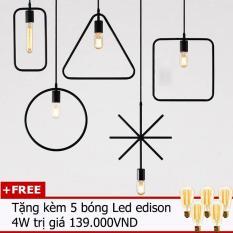 Bộ 5 đèn thả trần trang trí hình học THCN116 (5 mẫu đèn hình học khác nhau tặng kèm 5 bóng Led Edison 4w)