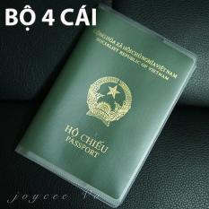 Combo 4 cái vỏ bao hộ chiếu (passport) dẻo trong có khe đựng vé máy bay và các loại thẻ Joycee Vo 4B132