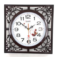 Đồng hồ treo tường hình vuông mặt số tròn Vati S12 ( nâu ) – Khuyến mãi tết tặng ngay 1 cặp pin AAA
