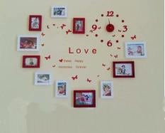Bộ 11 khung hình Diachire treo tường trái tim + Tặng Decal LOVE và Đồng hồ DIY (Trắng Đỏ)