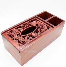Hộp đựng khăn giấy 3 ngăn bằng gỗ hương ta đỏ cao cấp