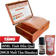 Hộp Đèn Đá Muối Hồng Mặt Cong Massage + Tặng Túi Muối Tắm Himalaya 300gr + 10ml Tinh Dầu Quế