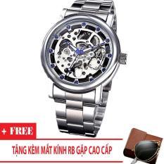 Đồng hồ cơ nam dây thép thương hiệu Nary (Dây Bạc, Mặt Bạc) + Tặng Kèm Mắt Kính RB Gập
