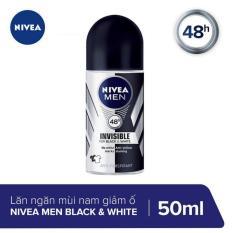 Lăn Ngăn Mùi Giảm Hình Thành Vệt Ố Vàng Trên Quần Áo Nivea Men Invisible For Black And White 50ml _ 82245