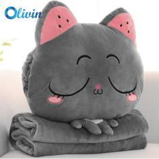 Bộ chăn gối 3 trong 1 cao cấp mèo xám nhắm mắt Olivin LA754