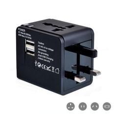 Ổ cắm điện đa năng du lịch thích hợp mọi loại ổ cắm trên thế giới tích hợp 2 cổng USB 2A sạc điện thoại máy tính bảng (Đen), ổ cắm đa năng, ổ cắm điện đa năng, ổ cắm chuyển đổi từ 2 chấu sang 3 chấu, phụ kiện du lịch