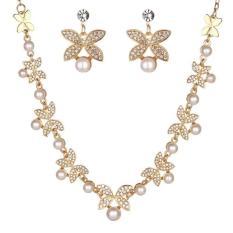 Bộ trang sức nữ 2 món hoa lá và ngọc trai bạc 925 mạ vàng cao cấp
