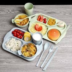Khay ăn chữ nhật trẻ em đủ bộ: bát, cốc, thìa, dĩa dùng Ăn trưa / Dã ngoại / Bé ăn dặm chất liệu lúa mạch KamiHome
