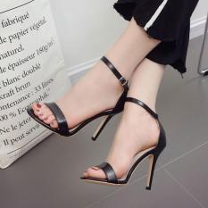 Giày cao gót quai ngang mảnh 10 phân đen