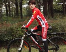 Bộ quần áo đi xe đạp bộ quần áo đạp xe Ferrari đỏ dài tay